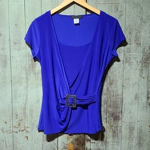 American City Wear royal blue blouse